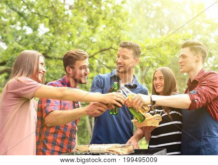 Friends toasting beer at barbecue in nature