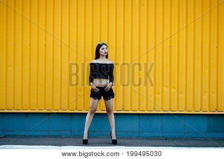 Gorgeous Brunette Girl With A Beautiful Make-up In Fashionable Clothes: A Black Jacket With A Bare N