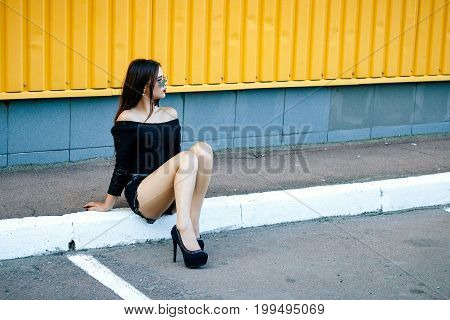 Gorgeous Brunette Girl With A Beautiful Make-up In Fashionable Clothes: A Black Blouse And Shorts Wi
