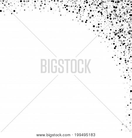 Dense Black Dots. Abstract Right Top Corner With Dense Black Dots On White Background. Vector Illust