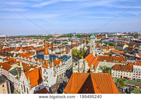 Munich, Bavaria, Germany. Old Town houses architecture