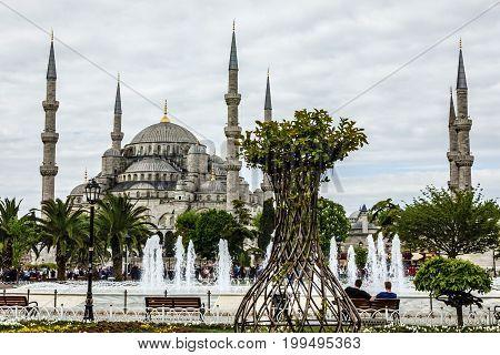 Istanbul, Turkey - May 7, 2017: Sultanahmet - blue mosque Istanbul, Turkey
