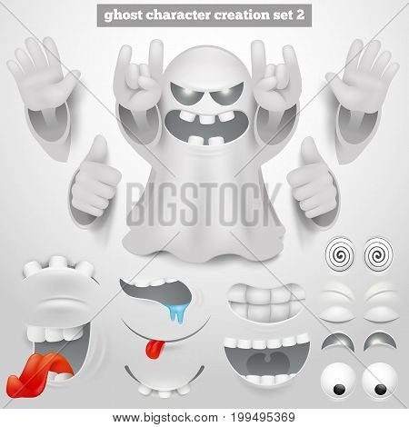Creation set of halloween emoticon ghost cartoon character. Vector illustration