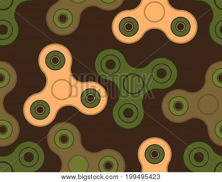 Spinner Army Pattern. Fidget Finger Toy Military Texture. Anti Stress Hand Toy Protective Background