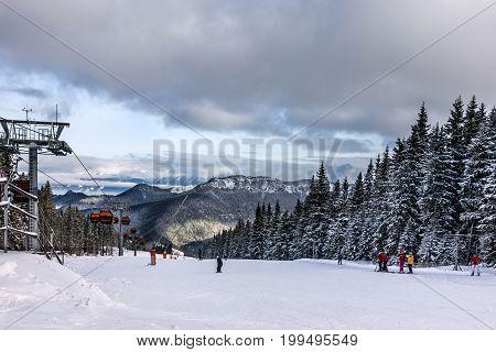 Jasna, Slovakia - Jan 12, 2017: Ski winter resort Jasna in Slovakia