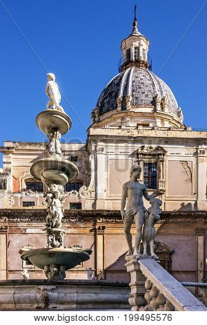 Palermo Fontana Pretoria, Sicily, Italy. Historical building landmarks, Piazza Pretoria