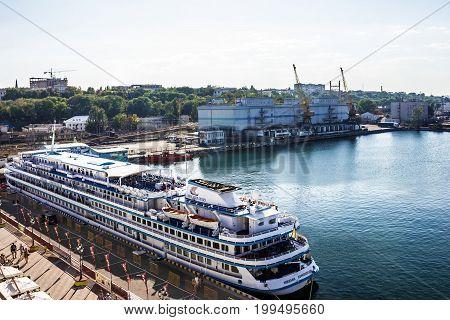 Odessa, Ukraine - August 14, 2017: Passenger ship of Viking River Cruises in the port of Odessa.