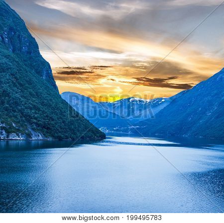 Sunset view on Norway fjords, Geiranger, Norwegian cruise