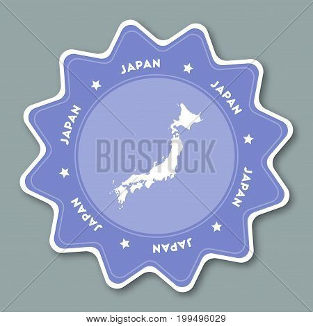 Japan Map Sticker In Trendy Colors. Star Shaped Travel Sticker With Country Name And Map. Can Be Use
