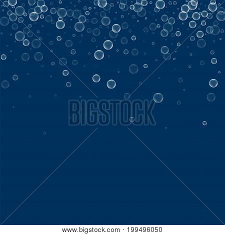 Soap Bubbles. Scatter Top Gradient With Soap Bubbles On Deep Blue Background. Vector Illustration.