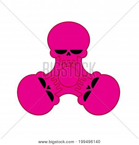 Spinner Skull Isolated. Bones Fidget Finger Toy. Halloween Anti Stress Hand Toy