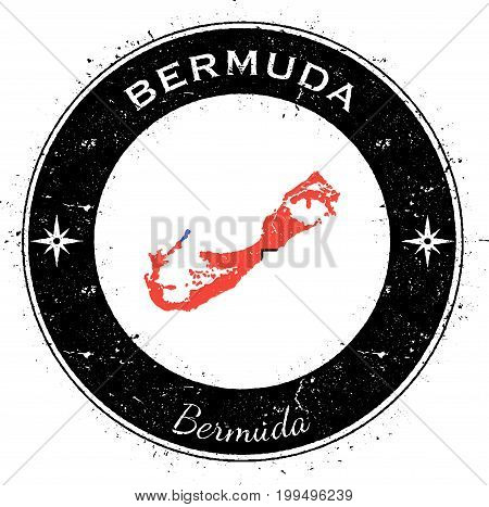 Bermuda Circular Patriotic Badge. Grunge Rubber Stamp With Island Flag, Map And Name Written Along C