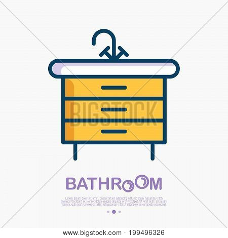 Washbasin cupboard with faucet and drawers. Bathroom equipment thin line vector illustration.