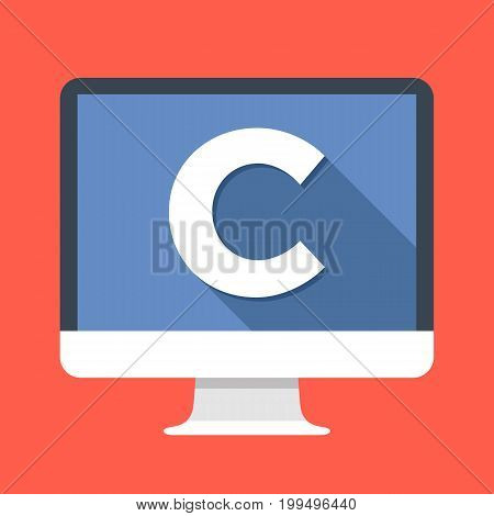 Computer with C letter on screen. C programming language. Programming, coding, learning concepts. Simple flat icon. Modern long shadow flat design vector illustration