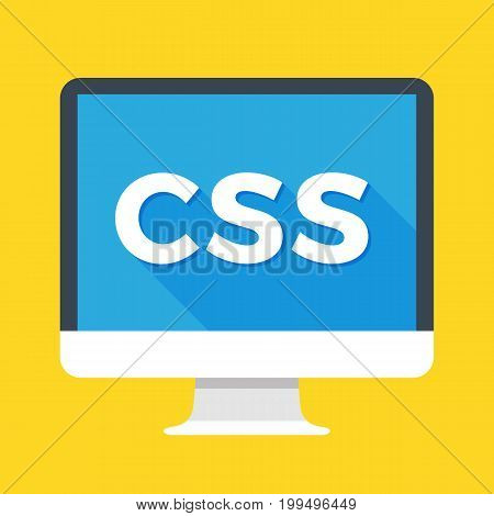 Computer with CSS word on screen. Cascading style sheets, style sheet language concept. Web development, coding, learning concepts. Simple flat icon. Modern long shadow flat design vector illustration