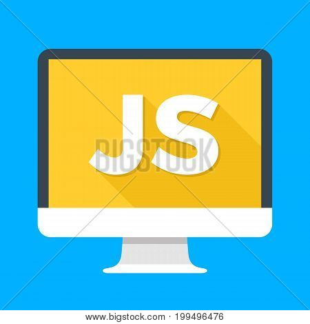 Computer with JS word on screen. Javascript scripting language. Web development, create js script, coding, learning concepts. Simple flat icon. Modern long shadow flat design vector illustration