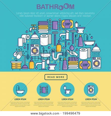 Bathroom equipment concept in half circle with thin line icons. Hygiene, purity, beauty, plumber related icons. Vector illustration for banner, web page, print media.