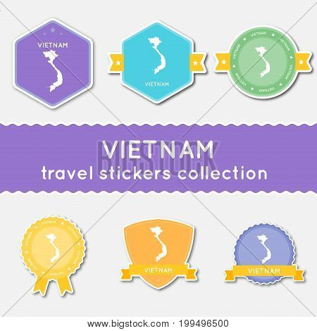 Vietnam Travel Stickers Collection. Big Set Of Stickers With Country Map And Name. Flat Material Sty
