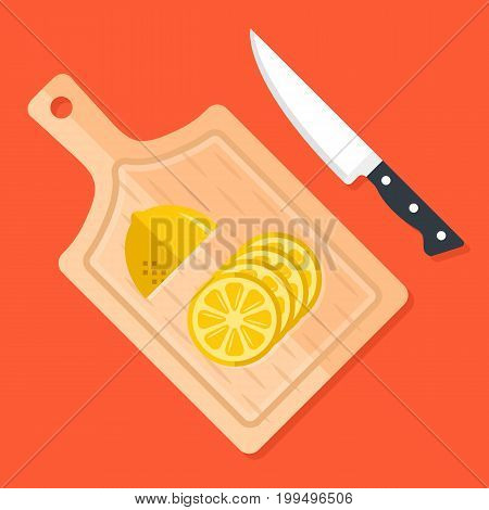Lemon slices on kitchen cutting board and kitchen knife. Food ingredients, cooking, food preparation concept. Wooden chopping board, kitchen tools, half a lemon. Flat design modern vector illustration