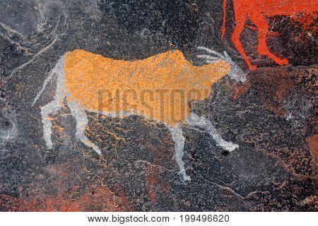 Bushmen (san) rock painting of an eland antelope, South Africa
