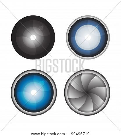 Set lens isolated object on a white background
