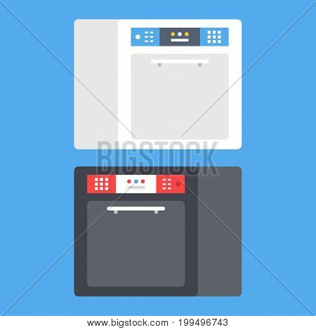 Vector dishwasher machine set. Black and white dishwasher isolated on blue background. Modern flat design vector illustration