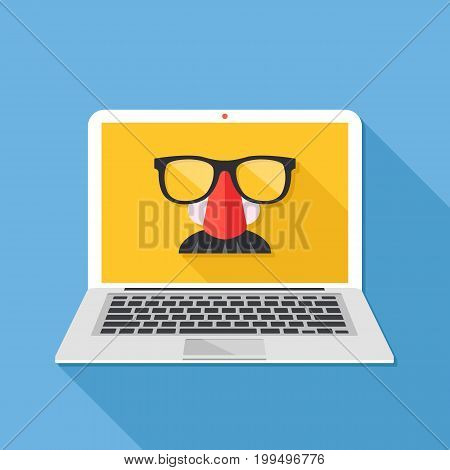 Internet privacy, online conspiracy, private browsing, incognito mode, anonymous web browsing concepts. Disguise mask on laptop screen. Long shadow design. Creative flat design vector illustration