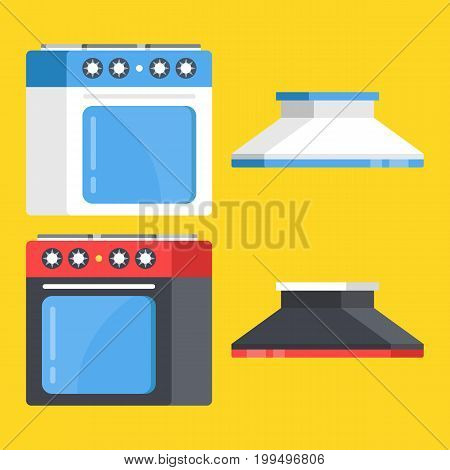 Vector kitchen range set. Black and white stove and oven and range hoods isolated on yellow background. Modern flat design vector illustration