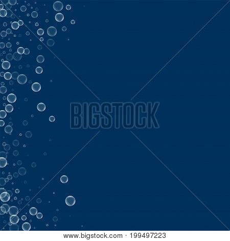 Soap Bubbles. Abstract Left Border With Soap Bubbles On Deep Blue Background. Vector Illustration.