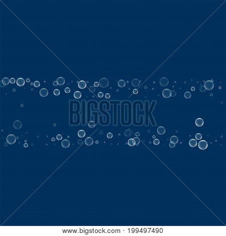 Soap Bubbles. Chaotic Shape With Soap Bubbles On Deep Blue Background. Vector Illustration.