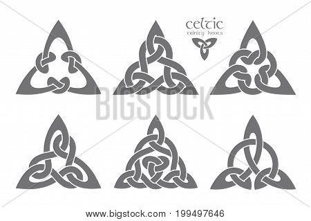 Vector celtic trinity knot part 1. Ethnic ornament. Geometric design. Vector illustration set