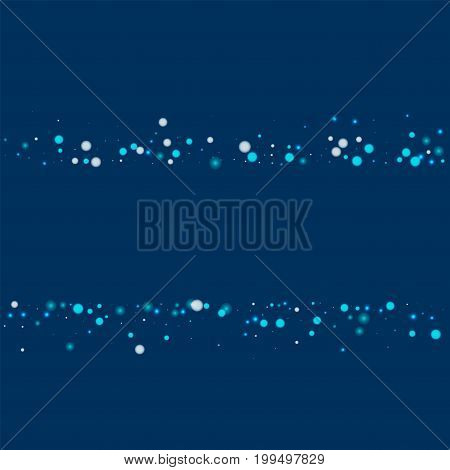 Beautiful Falling Snow. Scatter Lines With Beautiful Falling Snow On Deep Blue Background. Vector Il