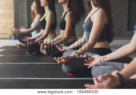 Young women in yoga class making meditation lotus pose, copy space, crop. Healthy lifestyle in fitness club.