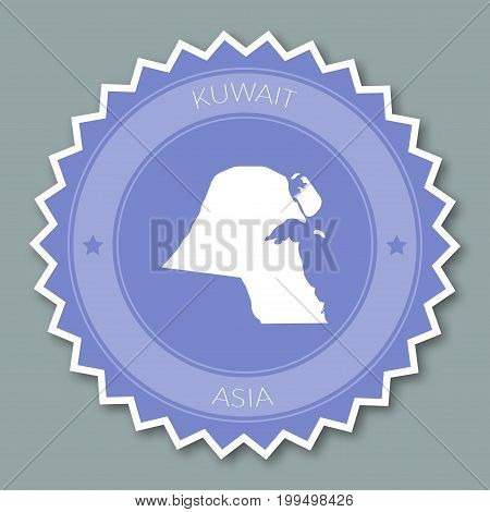 Kuwait Badge Flat Design. Round Flat Style Sticker Of Trendy Colors With Country Map And Name. Count