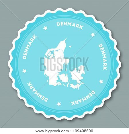 Denmark Sticker Flat Design. Round Flat Style Badges Of Trendy Colors With Country Map And Name. Cou