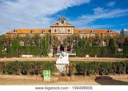 BARCELONA SPAIN - OCTOBER 22 2015: Catalonian parliament building at Parc de la Ciutadella (Park Citadel) in Barcelona Catalonia Spain