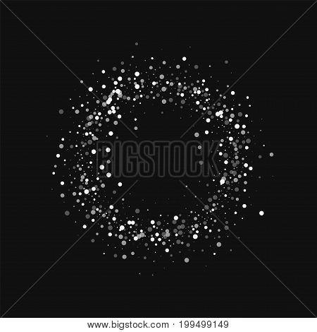 Random Falling White Dots. Small Ring Frame With Random Falling White Dots On Black Background. Vect