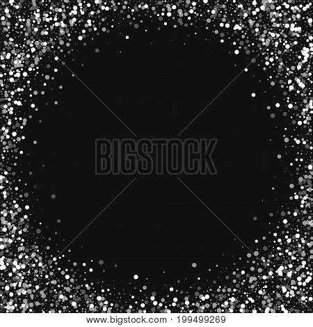 Random Falling White Dots. Corner Frame With Random Falling White Dots On Black Background. Vector I