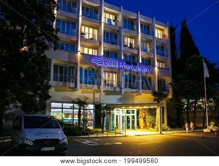 Montenegro Becici - July 1 2017: Hotel Montenegro in the evening light the famous resorts of Europe in Montenegro welcomes guests from all over the world.