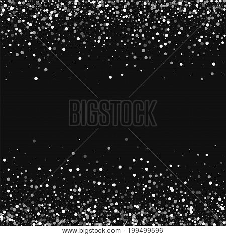 Random Falling White Dots. Scattered Border With Random Falling White Dots On Black Background. Vect