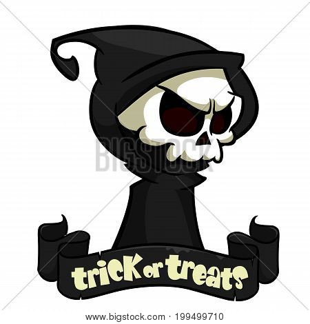 Cute cartoon grim reaper with scythe isolated on white. Vector illustration with a ribbon and title trick or treats