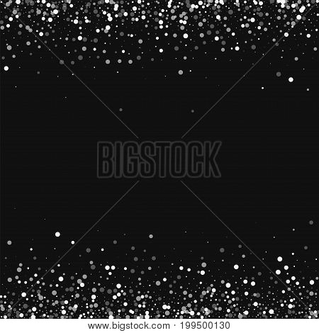 Random Falling White Dots. Borders With Random Falling White Dots On Black Background. Vector Illust