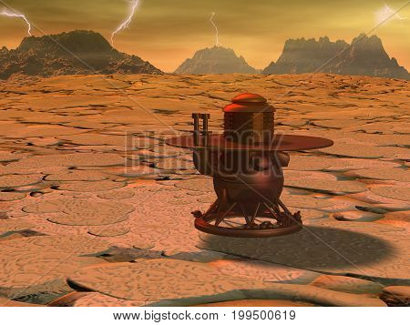 Space module landing on Venus surface.3d illustration.