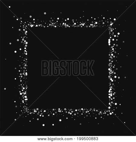 Random Falling White Dots. Square Abstract Border With Random Falling White Dots On Black Background