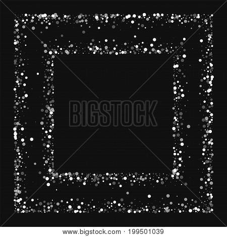 Random Falling White Dots. Square Chaotic Frame With Random Falling White Dots On Black Background.
