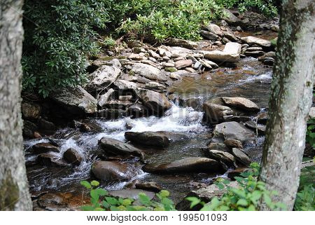 Water moving downstream in the back woods of the Smoky Mountains