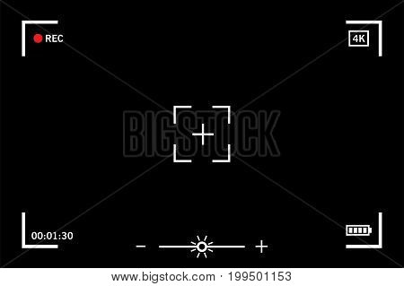 Modern digital video camera focusing screen isolated on black background