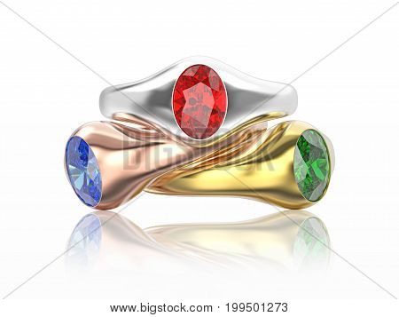 3D illustration three yellow rose and white gold or silver diamonds rings with red blue white diamonds with reflection on a white background