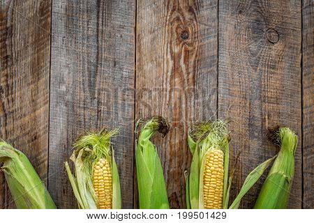 Fresh corn on cobs on rustic wooden table top view.