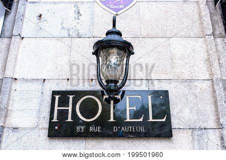 Quebec City Canada - May 29 2017: Closeup sign of hotel Manoir De L'Esplanade on rue D'Auteuil
